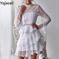 Yojoceli Ruffle white lace party dress female Autumn winter sexy elegant dress women vestidos Short daily casual dresses