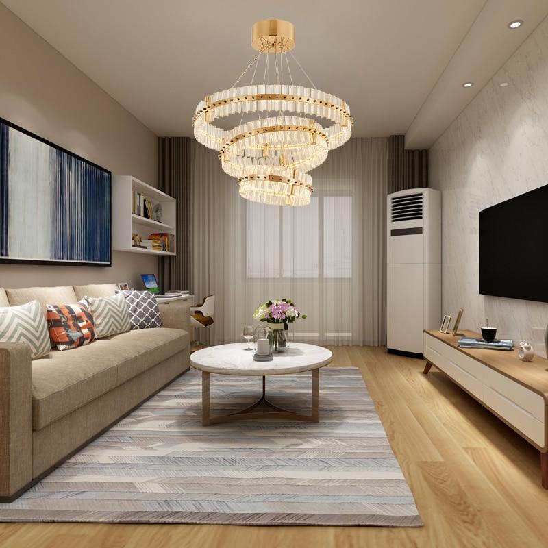 Luxury Modern Led Chandelier For Living Room Gold Three Rings