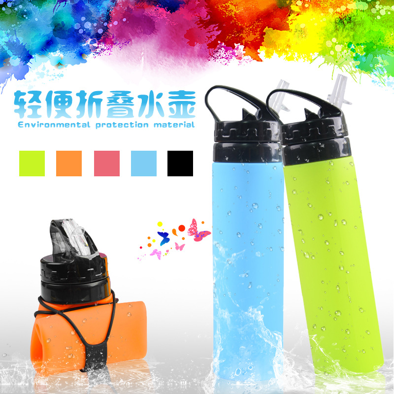 600ML Collapsible Silicone Water Bottle Silicone Folding Kettle Outdoor Sport Water Bottle Camping Travel Running Bottle