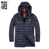 TIGER FORCE Men Fashion Padded Jacket Winter Warm Polyester Long Coat Bio Based Cotton Coat Brand