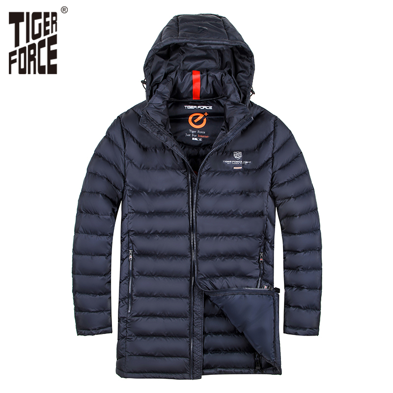 TIGER FORCE Brand Men Padded Jacket Winter Warm Polyester Medium-Long Coat Bio-based Cotton Coat Spring Autumn Men's Jacket