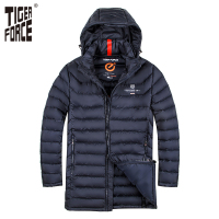 TIGER FORCE Brand Men Padded Jacket Winter Warm Polyester Medium Long Coat Bio Based Cotton Coat