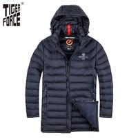 TIGER FORCE Brand Men Padded Jacket Winter Warm Polyester Medium Long Coat Bio Based Cotton Coat