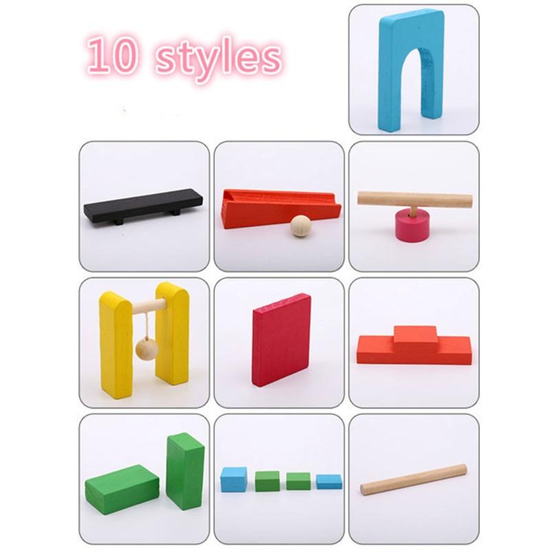 Детские деревянные игрушки домино, 120 шт., аксессуары, блоки для домино, игры Монтессори, развивающие игрушки для детей, подарок - Цвет: 10 styles