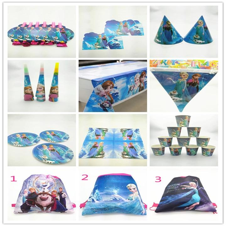 Disposable Tablewares Set 10Kids Use Frozen Snow Queen Elsa/Anna Princess Cups Plates Banners Tablecloth Horn Blowouts Napkins