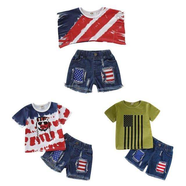 חדש 4Th של יולי פעוט ילדי תינוק בני בגדי T חולצת טי חולצות + ג 'ינס מכנסיים תלבושות