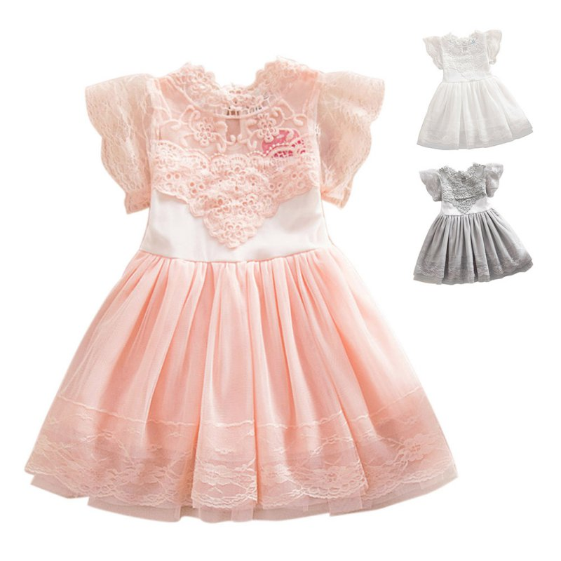 Summer Kids Baby Girl Lace Princess Dress Cotton Tulle