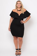 LOVEBATU Brand Women Black Off Shoulder Plus Size Party Dress With Ruffle V-Neck