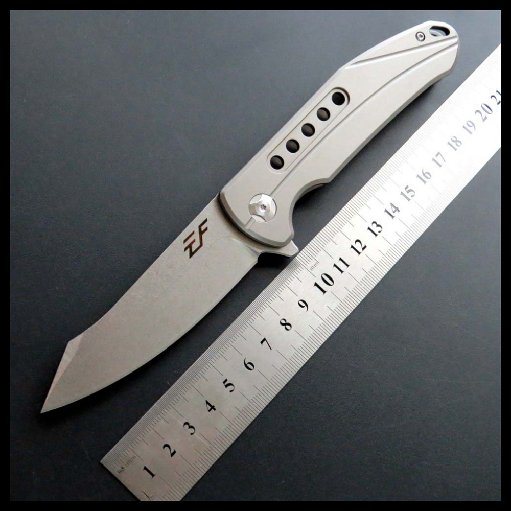 ZZSQ EF229 Pocket Folding Knife D2 Steel Blade Titanium Handle EDC Camping Tools Outdoor Knives outdoor folding knifeZZSQ EF229 Pocket Folding Knife D2 Steel Blade Titanium Handle EDC Camping Tools Outdoor Knives outdoor folding knife