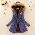 Mujeres Abrigo de invierno 2016 Nueva Parka Outwear Casual Militar Engrosamiento de Algodón Con Capucha Abrigo de Invierno Chaqueta de Piel de Abrigos Ropa de Las Mujeres D21