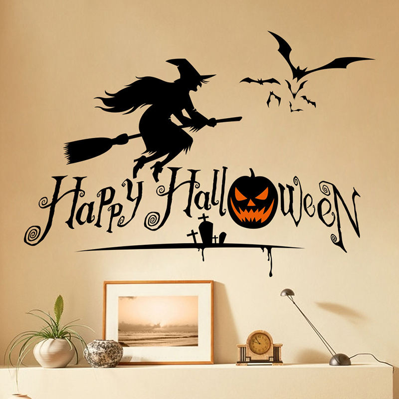 2016 Halloween Pumpkins Spooky Cemetery Witch And Bats Tomb Wall Decals Window Stickers Halloween Decorations