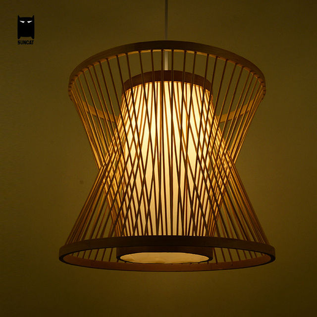 Bamboo birdcage wicker rattan pendant light fixture rustic for Suspension luminaire cage