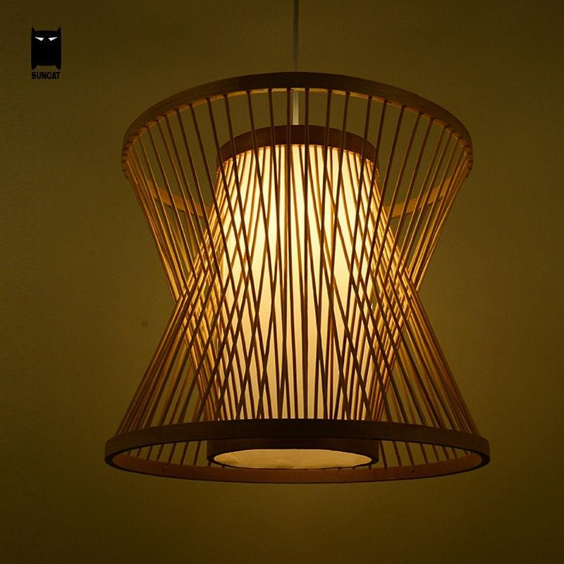 Bamboo Birdcage Wicker Rattan Pendant Light Fixture Rustic Hanging Lamp Suspension Luminaire Design for Dining Room Restaurant