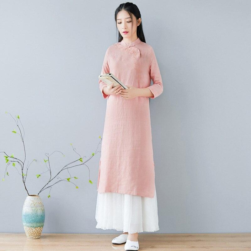 Women Vintage cotton linen Embroidery Dress Chinese Style Stand Collar Plate Buckle cheongsam hem split Dresses