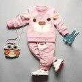 IAiRAY conjuntos de roupas meninas do bebê 2 pcs rosa camisa longa e calças calças infantil casaco bebê meninas esporte terno coreano kawaii roupas