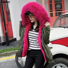2017 Winter New Arrival Large Real Fox Fur Collar Parkas With Fur Liner Women'S Thicked Short Winter Jackets