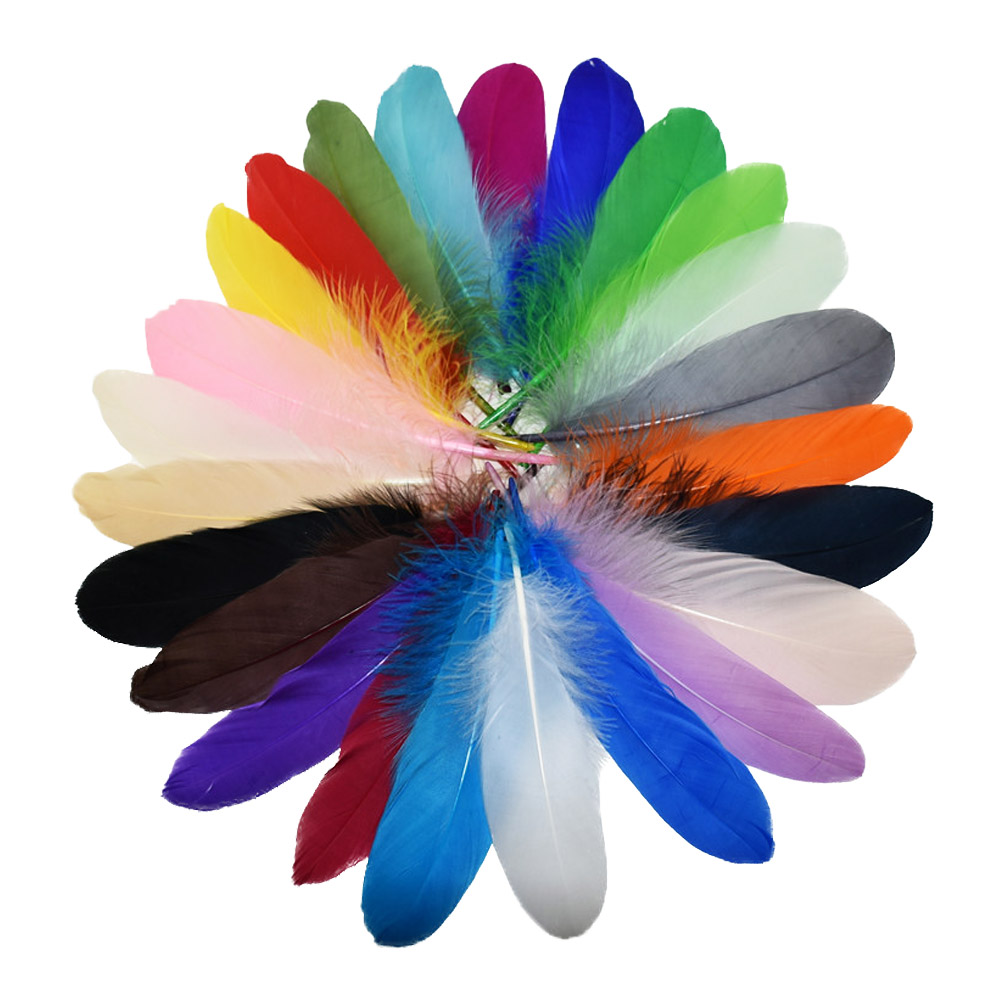 Diy Feather Bouquets Weddings: 24pcs/lot Colorful DIY Dyed Goose Feather Wedding Bouquet