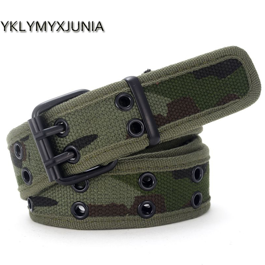 Woven Belt  Wholesale Canvas Men's Belt Double Pin Buckle Waistband For Men 2019 Male Canvas Belts Fashion Belts