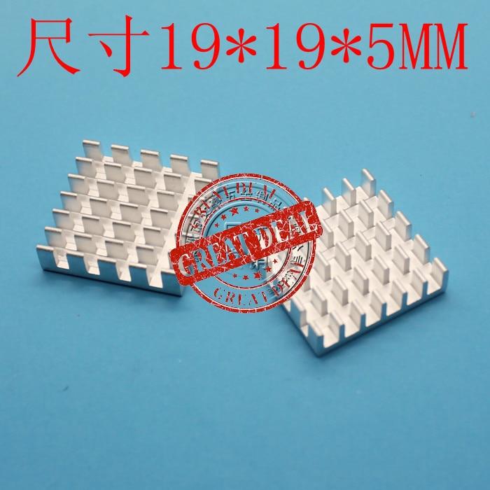 Free Shipping Wholesale 100PCS Aluminum Heatsink  19*19*5MM High Quality Thermal Block Radiator Breaking Groove