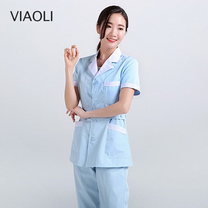 Nursing Uniforms Long Robe Hospital Medical Clothing Solid Color For Women Summer And Winter Cotton Soft Fabric Nurse Coat +pant