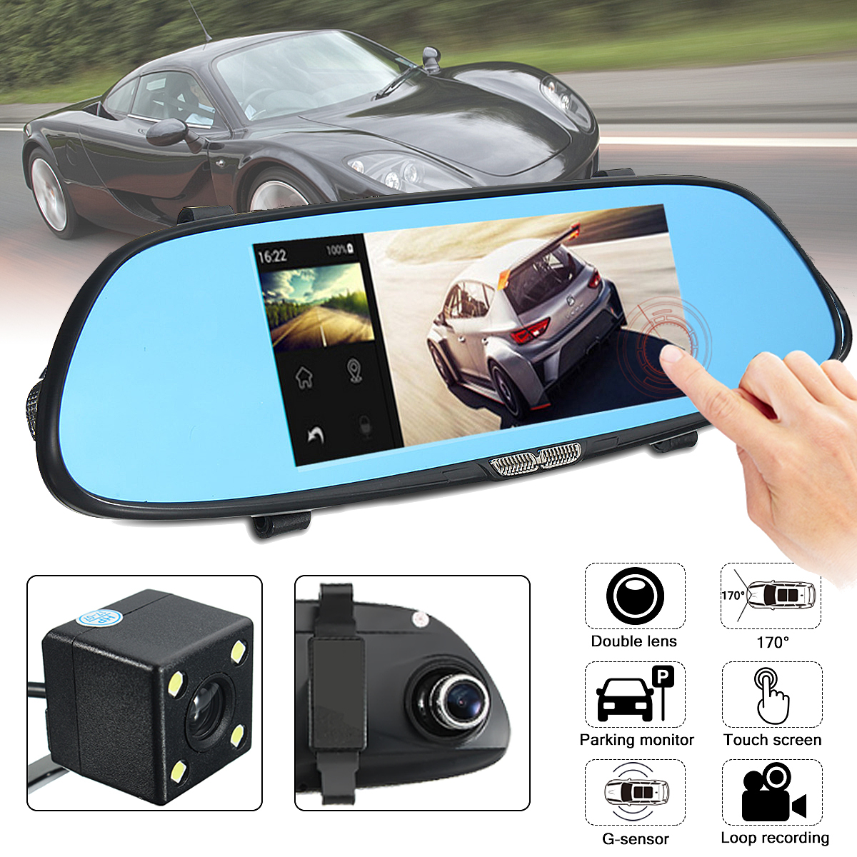 7 Inch 1080P HD 3G Car DVR Rearview Mirror Video Recorder Touch Screen G-Sensor Dash Cam