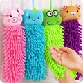 Chenille Baby Hand Clean Towel Soft Children's Cartoon Animal Hanging Wipe Bath Face Towel Tiger Panda Frog