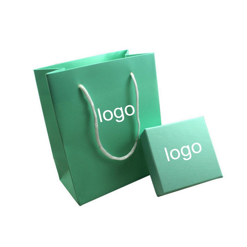 Customizable logo gift box and gift bag for jewelry lake blue boxes and bags for earrings