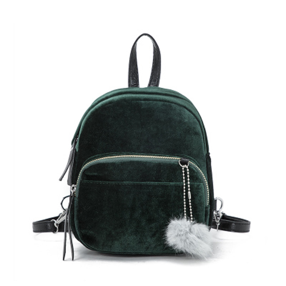 Kawaii Mini Backpack Bags Women Fur Ball Backpacks Velour Backpack Travel Backpacks Drop ...