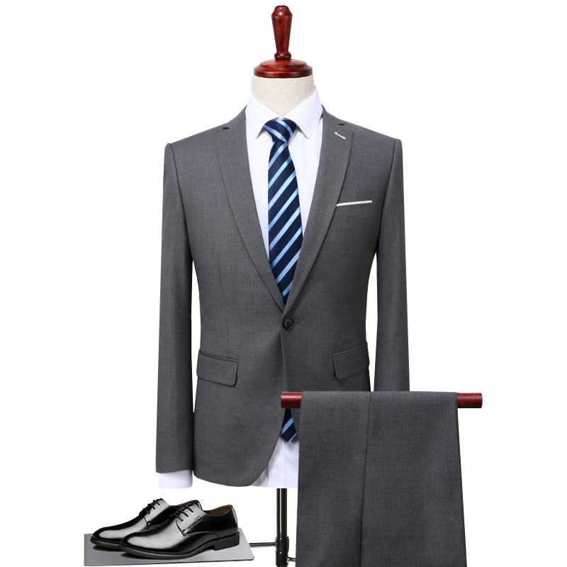 2 pieces / 2018 Spring Men's Business Casual Suit Jacket , Stylish Solid Color Single-breasted Slim Blazer Sets men Gray S-5XL