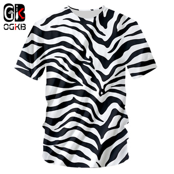 OGKB Tshirt 2018 New Zebra stripes O Neck T-shirt Large size leisure 3D Printing Personality Loose Fitness Workout Tee Shirts - discount item  47% OFF Tops & Tees