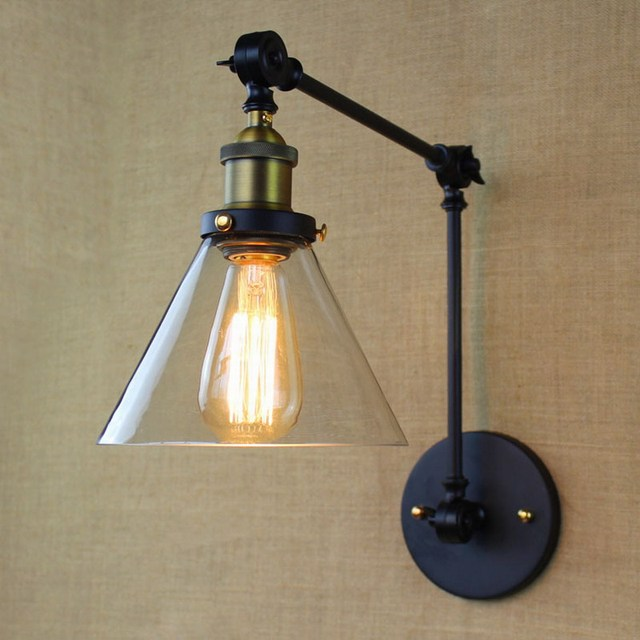3 color Loft industrial style iron glass Adjustable wall lamp swing ...