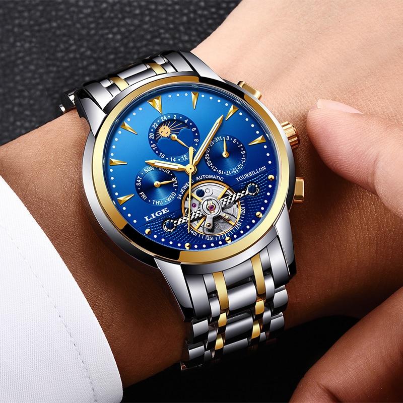 Relogio Masculino Mens relojes nuevo LIGE Top marca de lujo de los hombres reloj mecánico automático hombres de negocios de moda impermeable reloj