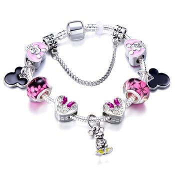 Cute Mickey Mouse Themed Bracelet Bracelets Jewelry New Arrivals Women Jewelry Metal Color: 12 Length: 20cm
