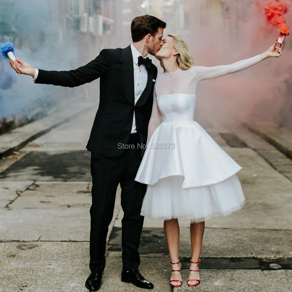 220b9f93f3952 YNQNFS W72 Chic Sheer Dot Tulle Long Sleeves Boho Wedding Dress Short 50S  60s White Party Bridal Bridesmaid Dress 2019
