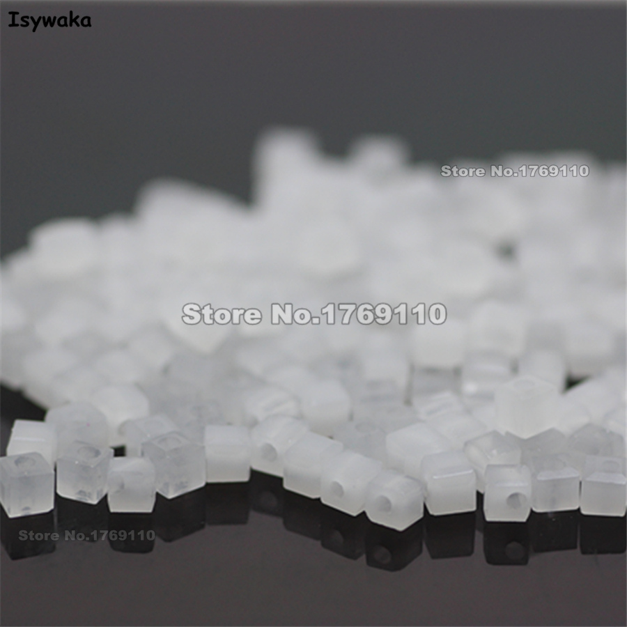 Isywaka 1980pcs Cube 2mm Non-hyaline White Color <font><b>Square</b></font> Austria Crystal Beads Glass Beads Loose Spacer Bead DIY Jewelry Making