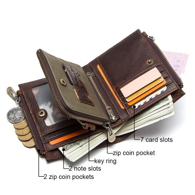 CONTACT'S 100% cow leather men's wallet RFID male portmane short cuzdan mens card holders coin purse cartera hombre man's walet 2