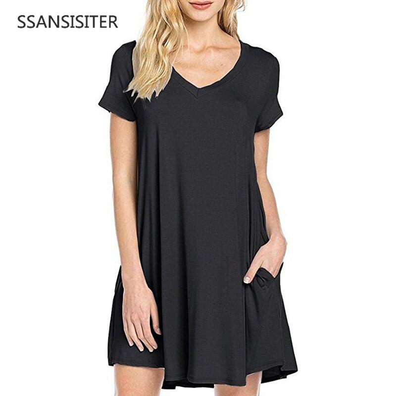 29f24e670b161 fashion solid color Summer dress Women Casual Round Neck Plain Basic ...