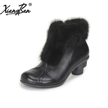 Xiangban comfortable winter shoes women genuine leather women ankle boots fur high heeles black