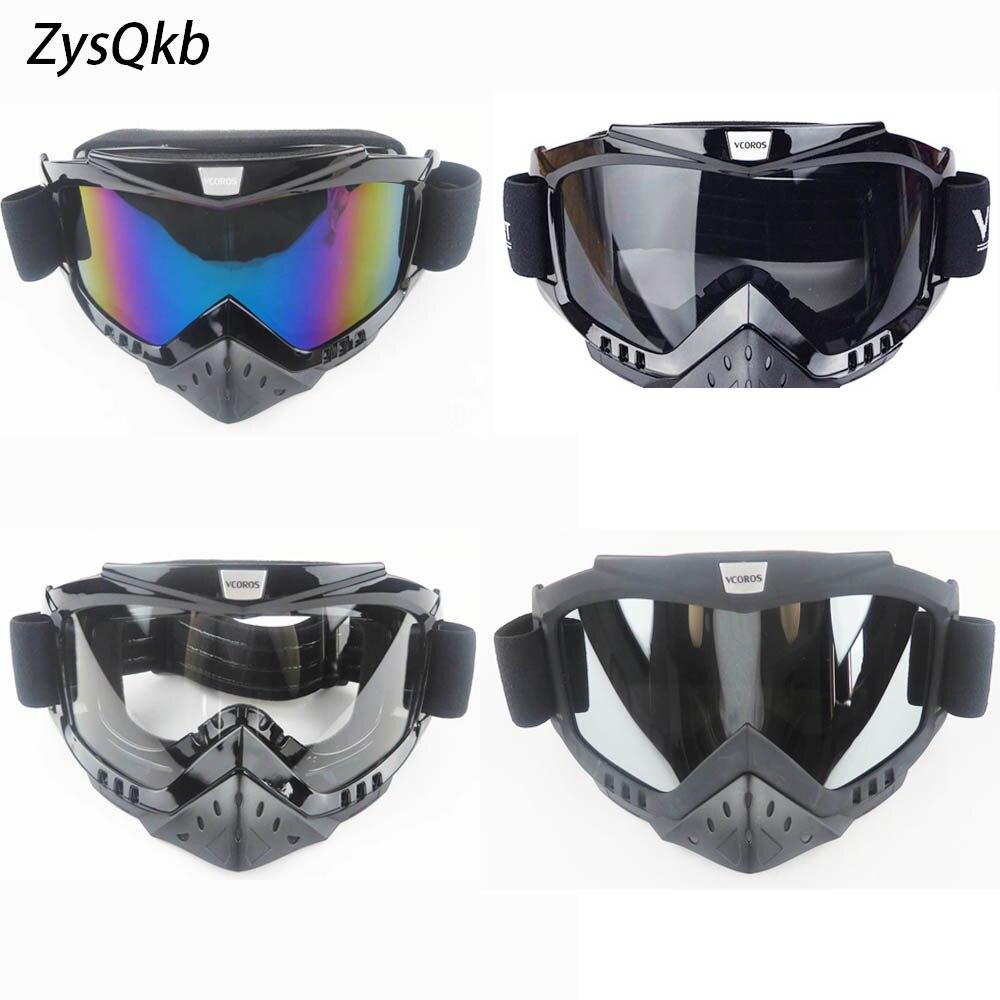 ZysQkb slidinėjimo dviračio motociklų veido kaukė Motocross motociklų akinių šalmai Vintage