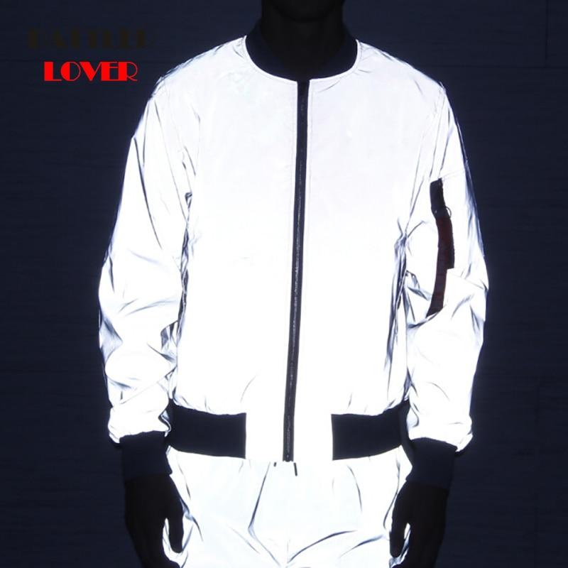 Drop Shipping Flight Jacket Men Spring/Autumn Windbreak Reflective Jacket Casual Hip Hop Jackets Night Light jaqueta masculina