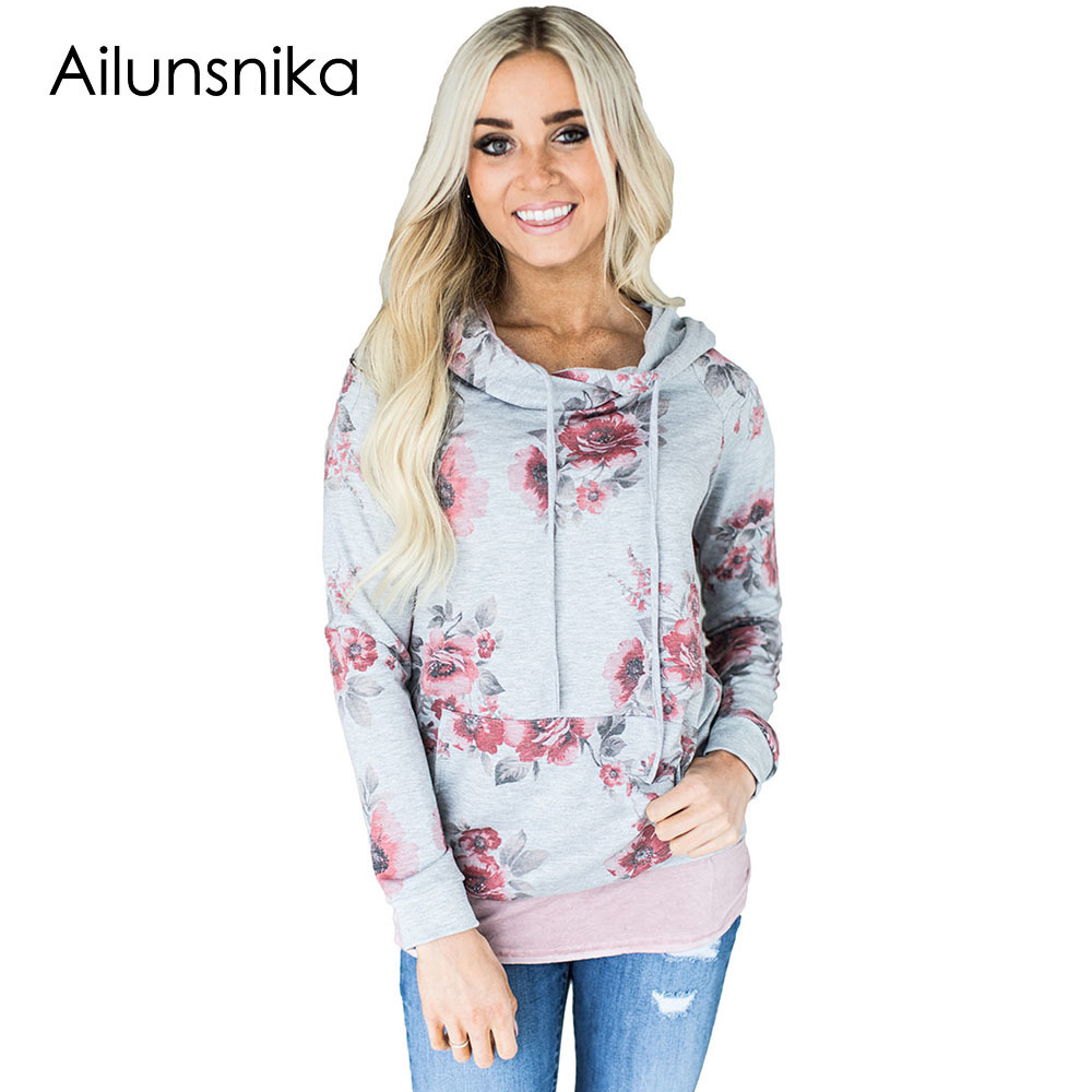 Ailunsnika 2018 Fashion Womens Hoody Floral Print Hoodies with Pockets Autumn Winter Casual Hooded Tops Long Sleeve Pullover
