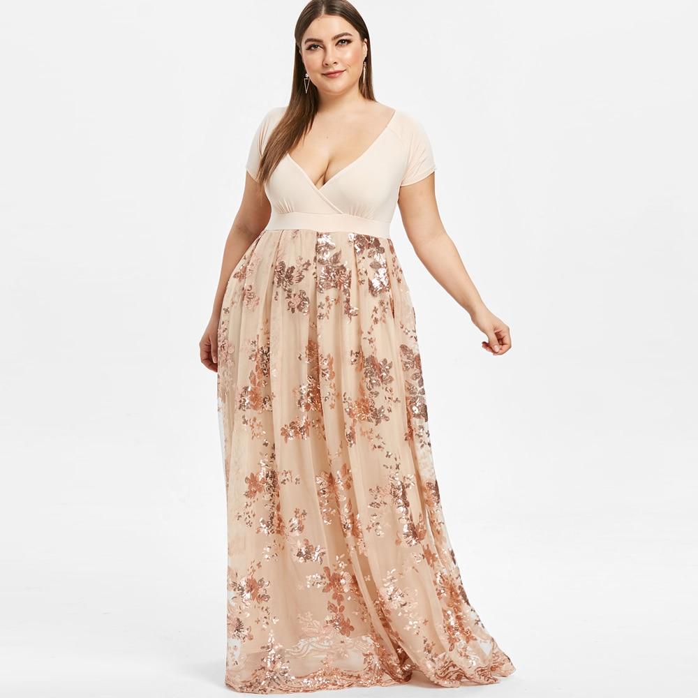 238cef1dc23d9 Kenancy Plus Size 5XL Glitter Sequin Vintage Dress Elegant Style ...