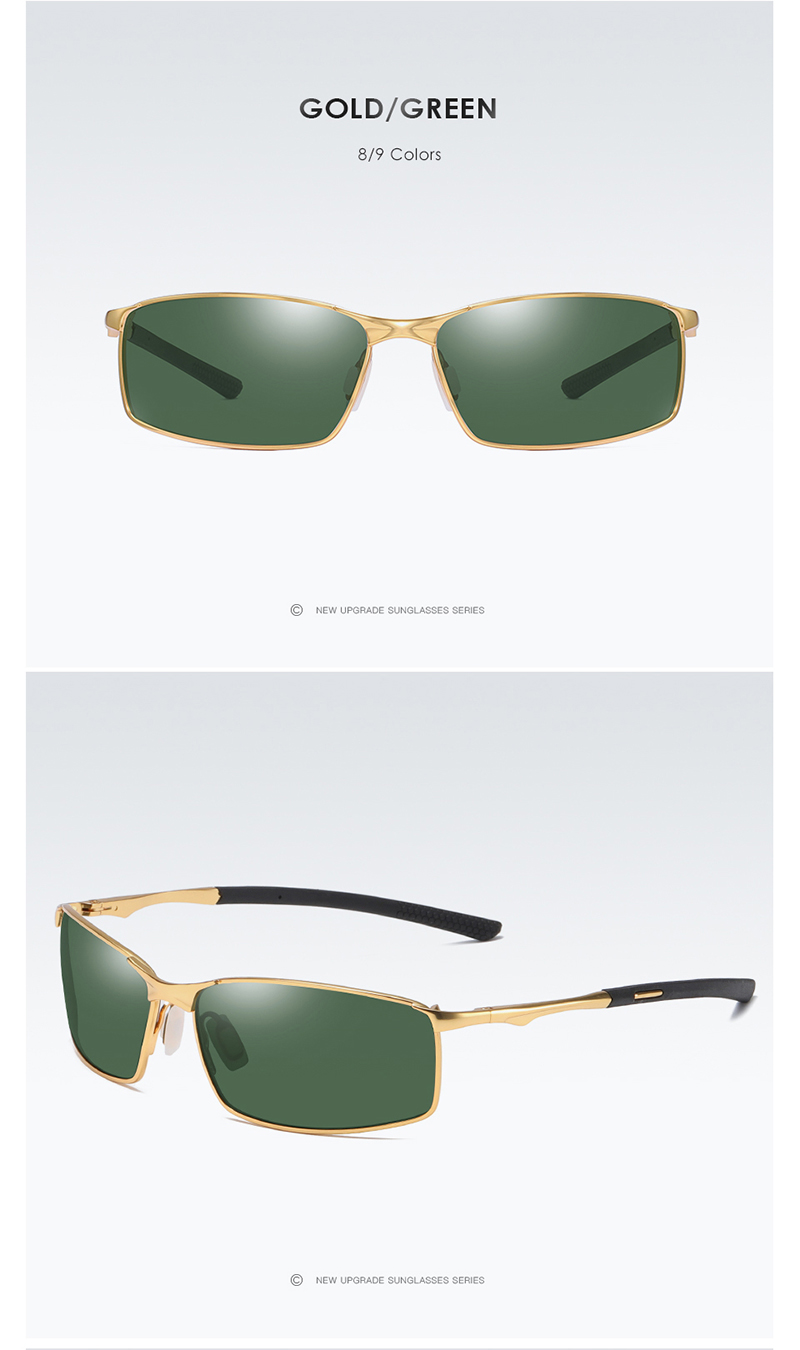 Aoron Gold and Green Color Polarized Sunglasses