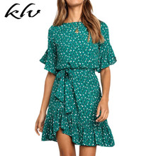 Women Flare Sleeve Chiffon A-Line Midi Dress Retro Heart Polka Dot Print Belted High Waist Ruffled Irregular Hem Beach Sundress retro buttoned high waisted belted flare dress