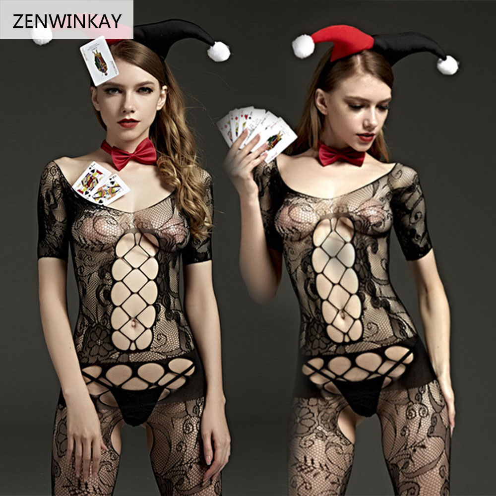 Buy Porn Babydoll Dress Hot Lace Mesh Open Crotch Costume Nuisette Sexy Teddy Chemises Erotic Lingerie Women Sex Underwear