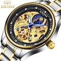 KINYUED золотые скелетоны автоматические часы роскошный Алмазный дизайн нержавеющая сталь мужские механические наручные часы светящиеся муж...