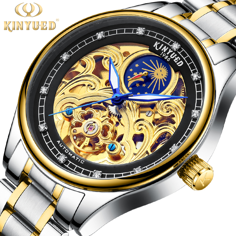 KINYUED Golden Skeleton Automatic Watches Luxury Diamond Design Stainless Steel Mens Mechanical Wrist Watches Luminous MaleKINYUED Golden Skeleton Automatic Watches Luxury Diamond Design Stainless Steel Mens Mechanical Wrist Watches Luminous Male