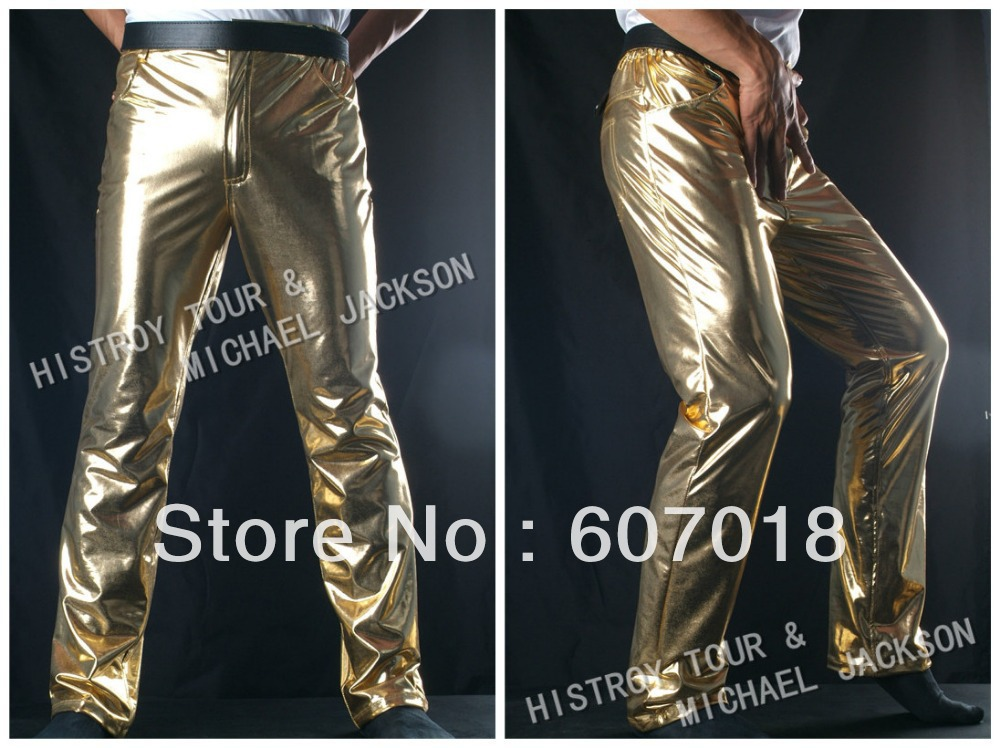 MJ  Michael Jackson History BAD Classic Golden Pants Trousers Free shipping for Performance Gift