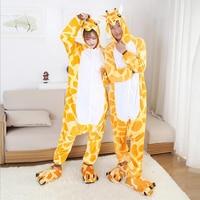 Winter Kigurumi Hot Giraffe Pajamas Flannel Animal Halloween Pajamas Costumes Onesies Hooded Sleepwear Men Women Adults