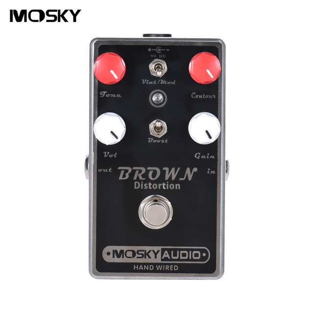MOSKY BROWN Distortion Guitar Effect Pedal Four Control Knobs Two Switches Full Metal Shell True Bypass